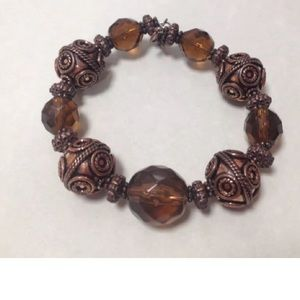 Jewelry - Copper Bead Art Glass Bracelet